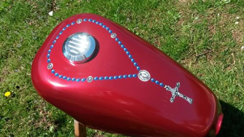 East Coast Vinyl Werkz Rosary/Cross - (Blue Beads) decal sticker for Harley Davidson Sportster Yamaha Chopper gas tank - fits around gas cap - Also for car & truck - Chopper Truck Car