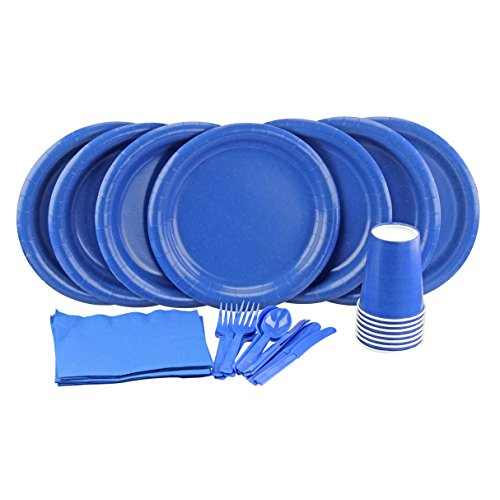 Party Lovers Premium Party Supplies Disposable Dinnerware Set - 20pc Includes Royal Blue Dinner Plates, Cutlery, Tablecloth Napkins and Cups - Birthday Paper Tableware Collections