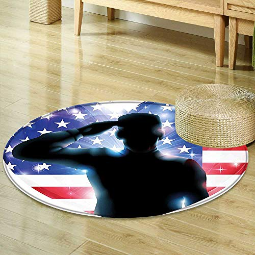 Round Rugs for Bedroom 4th of July Decor Funny French Bulldog with Sunglasses in American Costume Hiding Graphic Art Multi Circle Rugs for Living Room R-35