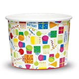 Premium 12 oz Happy Birthday Paper Cups Paper Ice Cream Cups - Comes In Many Colors & Sizes! Fast Shipping - Frozen Dessert Supplies - Made in USA! 100 Count