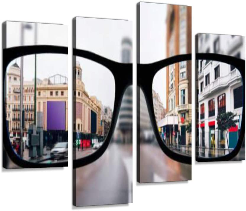 Myopia in Madrid Canvas Wall Art Hanging Paintings Modern Artwork Abstract Picture Prints Home Decoration Gift Unique Designed Framed 4 Panel