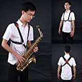 #8: Jiuxun Saxophone Strap Adjustable Harness of Double Shoulder for Tenor Alto Saxophone With Snap Hook