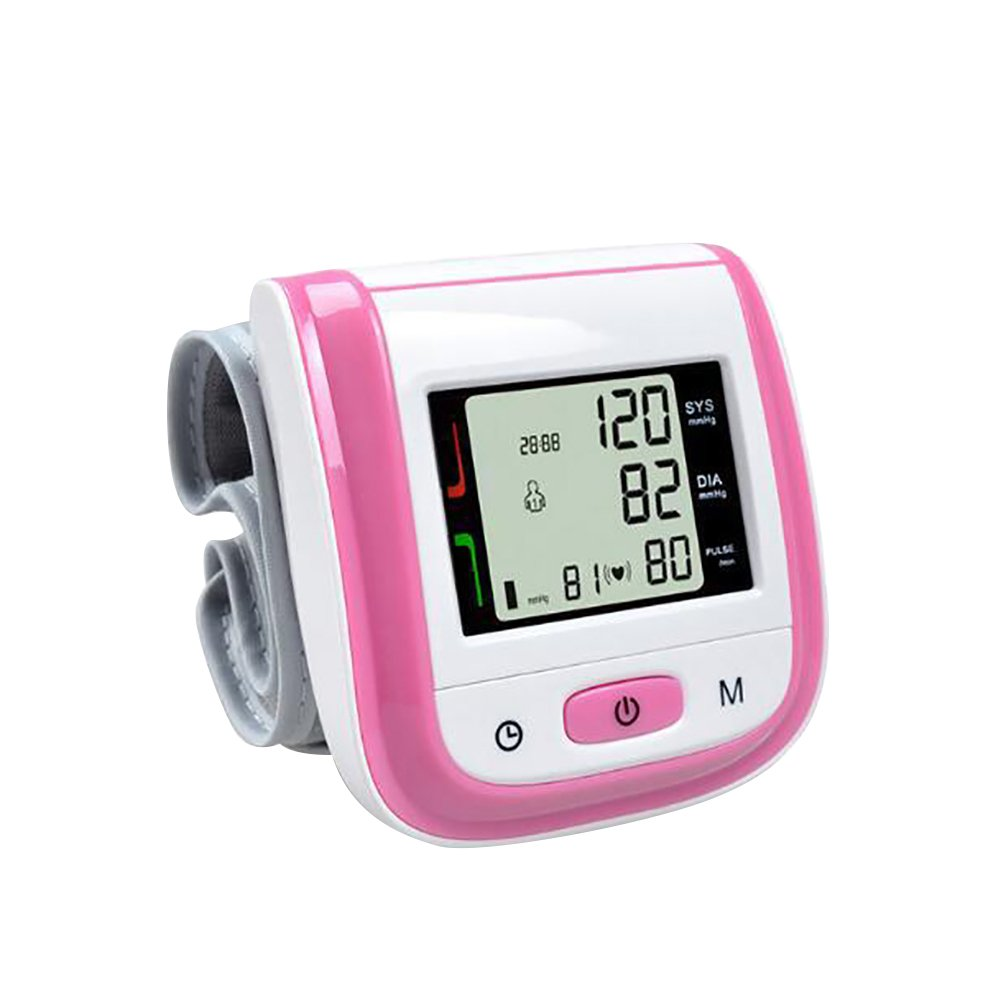 LBgrandspec Care Touch Automatic Wrist Blood Pressure Cuff Monitor - Classic Edition - Fast Accurate Readings FDA Approved domestic medical travel - Pink