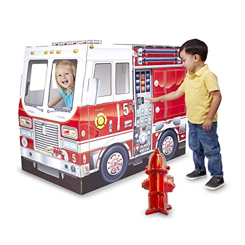 Melissa & Doug Fire Truck Indoor Corrugate Cardboard Playhouse (4 Feet Long)