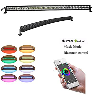 """NKLighting 50"""" 288W Curved LED Light bar with RGB halo ring-Bluetooth App/Music control RGB Color Lamp Flood Led light Bulb Offload 4x4 Jeep Wrangler rear bumper wiring harness, 2 years warranty by NKLighting"""