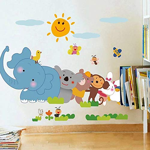 DERUN TRADING Animal Train and Hot Air Balloons Kids Wall Decals Wall Stickers Peel and Stick Removable Wall Stickers for Kids Nursery Bedroom Living Room -