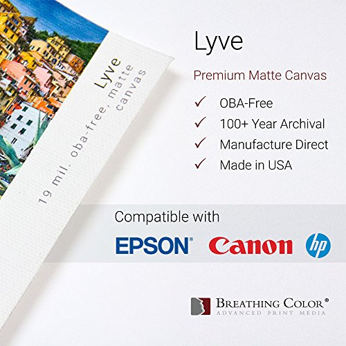 Lyve Matte Canvas - 19mil 450gsm, Archival Inkjet Canvas for Epson, Canon, HP. 24