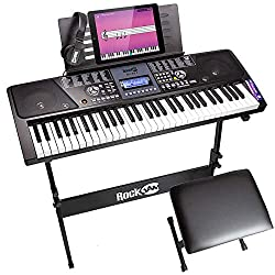 The RockJam 561 Super Kit includes a 61-key keyboard, a stand, a padded stool, and a pair of high quality headphones. It addition, the super kit comes with 30 Simply Piano songs to be downloaded on your iPhone, iPad or Android device that will help a...