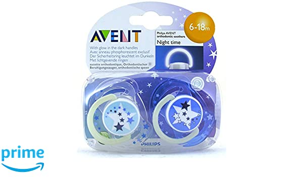 Baby Soother Dummy Pacifier Nipple Philips Avent Night Time 0-6m / 6 ...