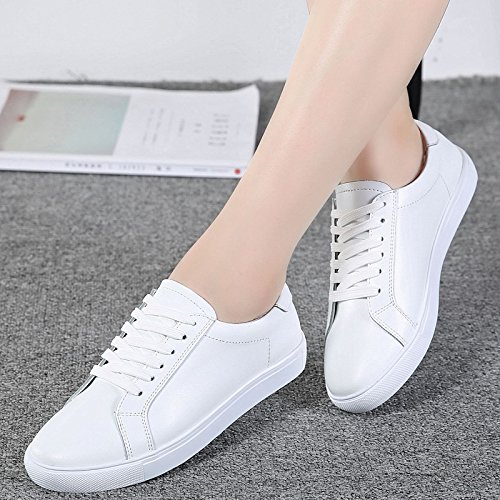 Casual 36 White Shoes Small KPHY Leather Autumn Laced Women'S Shoes Wild Student Flat Shoes Shoes white Women'S Sole aqa1wFt