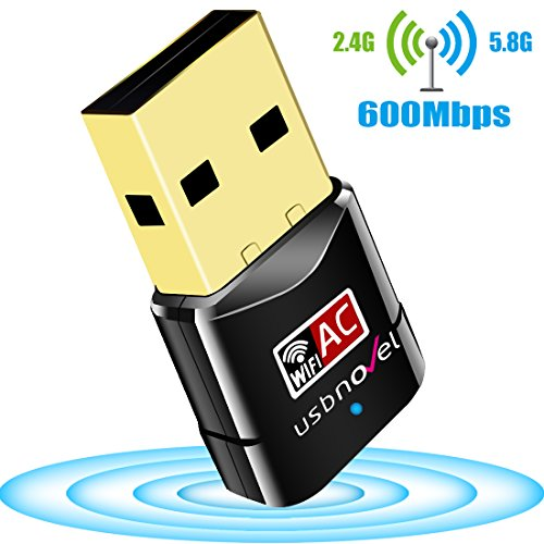 USB WiFi Adapter 600Mbps USBNOVEL Dual Band 2.4G / 5G Wireless WiFi Dongle Network Card for for Laptop Destop Win XP/7/8/10, Mac OS X 10.4-10.14