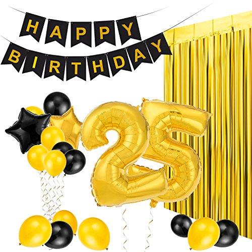 MeiHoyo 25th Birthday Decorations Happy Birthday Banner Party Kit Pack B-Day Celebration Supplies with Gold and Black Stars Balloons and Golden Fringe Curtain (25th)