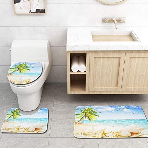 (Quaanti 3pcs Ocean Bath Mat, Beach Water and Palm Tree Summer Landscape Scenery,Doormat,Bathroom Carpet Toilet Mat Non Slip Floor Mats Rugs Kitchen Hall Entryway Carpet Home Decor (Multicolor) )