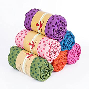 LVEM Yoga Mat Towel 72 inch x 24 inch Long Non Slip Yoga Mat Towel with Carrying Mesh Bag, Mat Cover for Bikram, Hot Yoga, Fitness, Exercise, Machine ...
