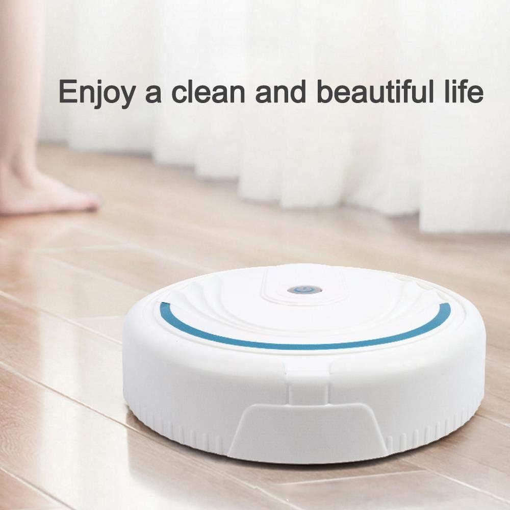 BYBYC Aspirateur Robot, USB Automatic Smart pour Tapis à Poils Moyens, Aspiration puissante, Silencieux, Noir Blanc