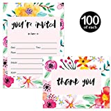 Party Invitations & Matching Thank You Cards with Envelopes ( 100 of Each ) Lively Whimsical Flowers All Occasions Fill-in Blank Invites And Folded Thank You Cards Set Excellent Value Combination