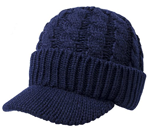 Fasker Women Cable Knit Hat Winter Warm Newsboy Beanie Caps with Visor ()