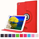 iPad Air 2 Case, JCmax Synthetic Leather Case Cover (Inbuilt 360 Rotating Stand and Automatic Wake/Sleep Function) For Apple iPad Air 2 iPad 6th Release in 2014 +Stylus Pen -Red