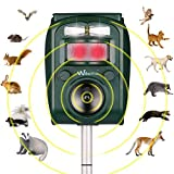 Wikomo Ultrasonic Pest Repeller, Solar Powered Waterproof Outdoor Animal Repeller with Ultrasonic Sound,Motion Sensor and Flashing Light pest Repeller for Cats, Dogs, Squirrels, Moles, Rats