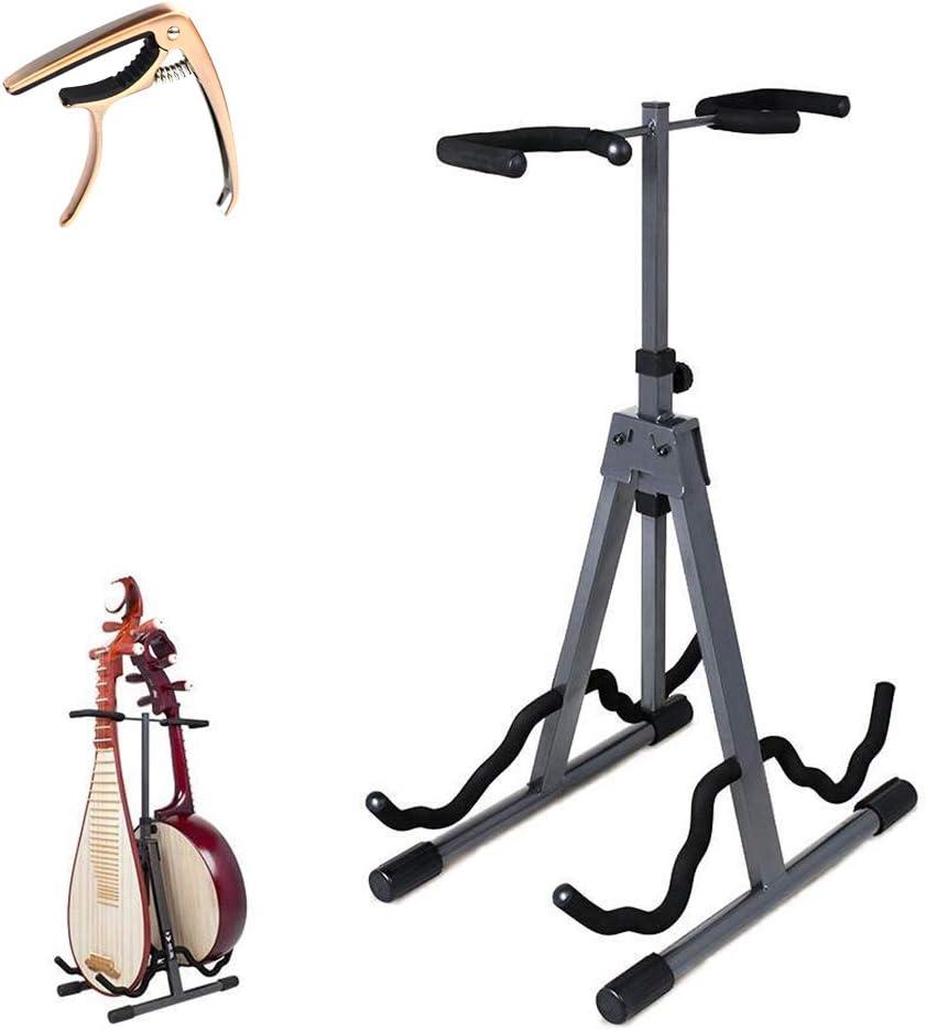 YUSDP Soporte de Guitarra Universal Plegable: diseño de Soporte Estable de Cuatro Puntos, Altura Ajustable, acomoda 2 Guitarras, se Adapta a Guitarras y Otros Instrumentos de Cuerda