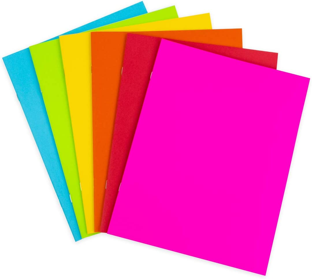 Hygloss Products Colorful Blank Books – Books for Journaling, Sketching, Writing & More - Great for Arts & Crafts - 6 Bright, Fun Colors - 8.5 x 11 Inches - 100 Pack