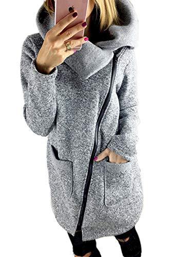Lunga Giacca Grey Manica Donna Sweatershirt Obliqua Zinmuwa Cerniera qTv74Hwt