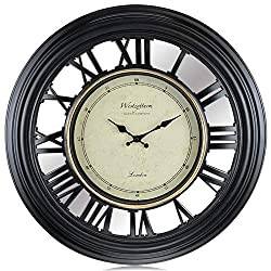 Westzytturm Large Wall Clock 20 inches Modern 3D Roman Numeral Wall Clocks Non Ticking Silent Metal Hands Mirror Face Round Contemporary Decorative for Living Room Bedrooms Home Kitchen Office Black