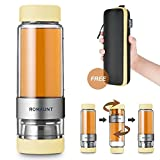 Tea Infuser Bottle Tumbler Travel Mug ROMAUNT Twist Valve System Design Control Tea Concentration 14oz / 390 Ml Double Wall Tritan Bpa Free Body Compatible With Coffee Bag Yellow Color