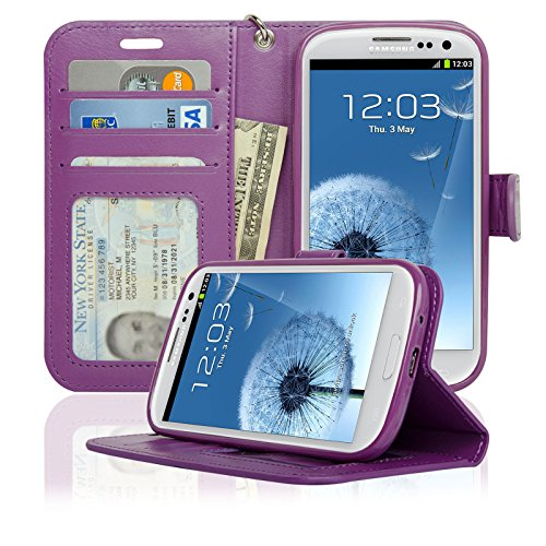 Navor Samsung Galaxy S3 Deluxe Book Style Folio Wallet Case (Purple) (Galaxy S3 Cases Wallet)