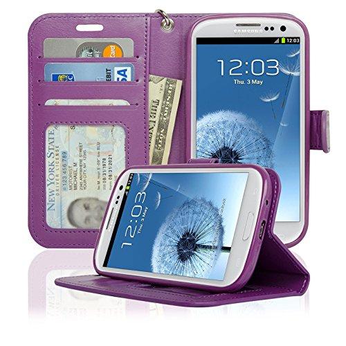- Navor Samsung Galaxy S3 Deluxe Book Style Folio Wallet Case (Purple)