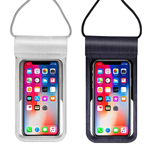 Silver Nokia Pouch - Waterproof Cell Phone Case Pouch Holder for Android, Underwater iPhone Phone Case Pouch Waterproof Cellphone Bag Pouch, Cell Phone Dry Bag Up to 6.5 Inches for iPhone X/8/7/6/Plus/Samsung