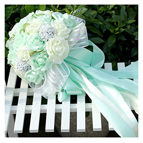 Wedding Bouquet Mint - N.L.B Handmade Satin Roses White Bridesmaid Bouquet Crystal Brooch Bridal Wedding Bouquet Decor Mint Artificial Flowers (Mint)