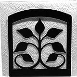 Iron Leaf Fan Napkin Holder - Black Metal