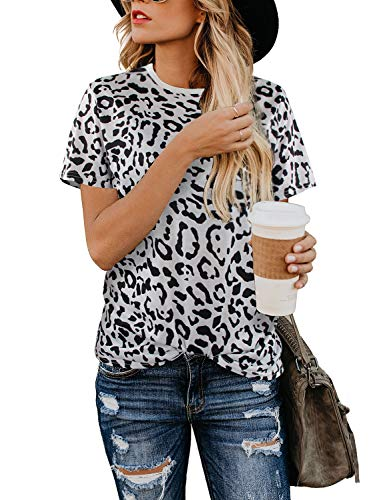 BMJL Women's Casual Cute Shirts Leopard Print Tops Basic Short Sleeve Soft Blouse (X-Large, Leopard06) -