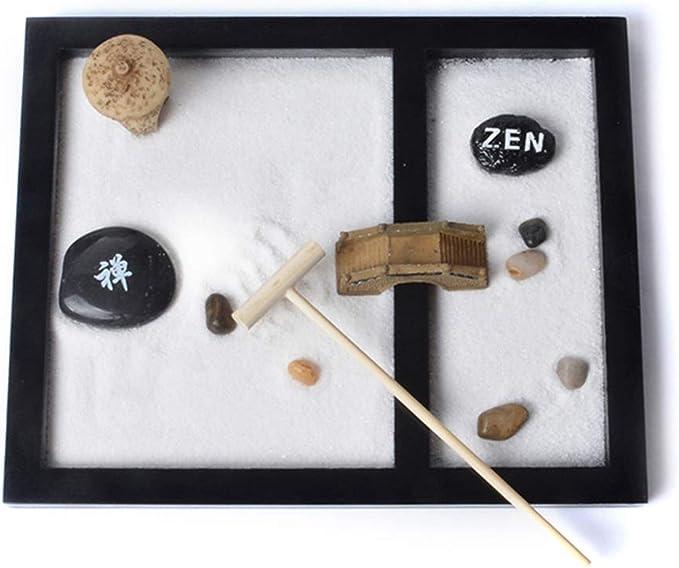 Bandeja de jardín Zen, Mini escritorio de Zen Garden con rastrillo libre Bolígrafo de bambú Empujando la pluma de arena Quemador de incienso de escritorio Decoración: Amazon.es: Hogar