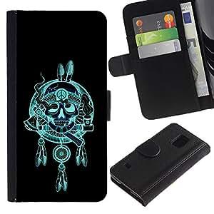 Be-Star la tarjeta de Crédito Slots PU Funda de cuero Monedero caso cubierta de piel Para Samsung Galaxy S5 V SM-G900 ( Indian Chief Feathers Hatchet Skull )