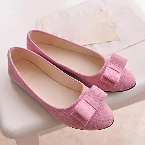 SKY Zapatos comodos !!! Zapatos de ballet de las mujeres Zapatos del trabajo Zapatos del resbalón de la pajarilla Barco Rosado