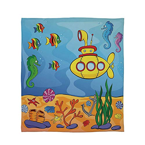 YOLIYANA Lightweight Blanket,Yellow Submarine Decor,for Bed Couch Chair Fall Winter Spring Living Room,Size Throw/Twin/Queen/King,Underwater Theme Submarine Seahorse Starfish and Fish