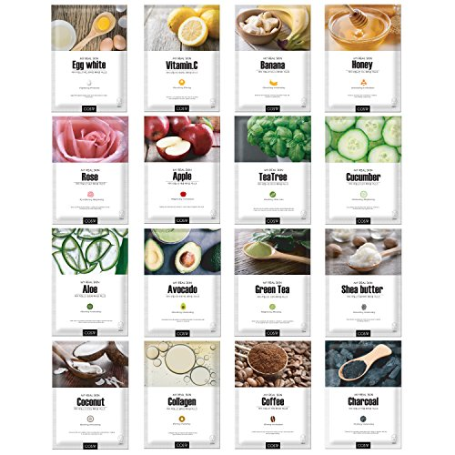 - Green Grade Cupra Facial Sheet Masks Variety Pack Featuring 16 Different Hydrating Full Face Masks