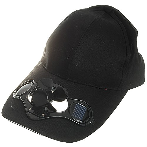 IDS Home Black Outdoor Solar Powered Cooling Fan Cap Hat for Sports Baseball Golf