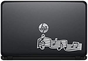 Music Note Version 1 Vinyl Decal Sticker for Computer MacBook Laptop Ipad Electronics Home Window Custom Walls Cars Trucks Motorcycle Automobile and More (White)