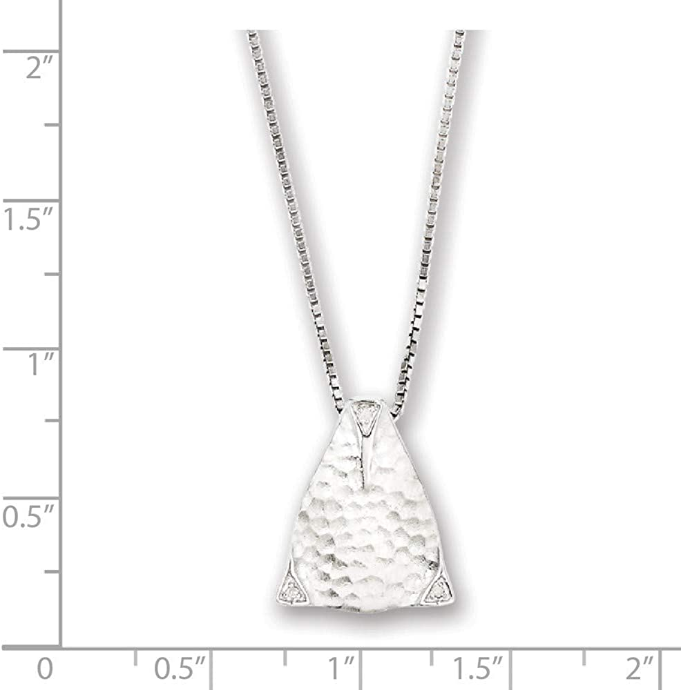 925 Sterling Silver Polished Gift Boxed Spring Ring Rhodium plated White Ice Textured Triangle Diamond Pendant Necklace 18 Inch Jewelry Gifts for Women
