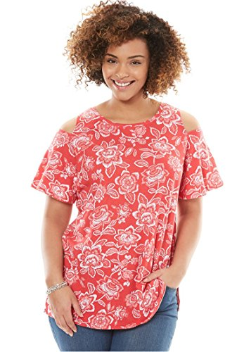 Women's Plus Size Short Sleeve Cold Shoulder Tee Coral Red - Latest Ladies Trends For