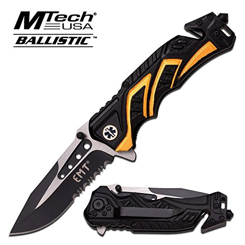8'' EMT yellow/black MTECH SPRING ASSISTED FOLDING KNIFE Blade pocket open switch- Firefighter Rescue Pocket Knife - hunting knives, military surplus - survival and camping gear by Mtech