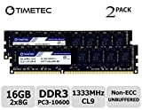 Timetec Hynix IC 16GB Kit (2x8GB) DDR3 1333MHz PC3-10600 Unbuffered Non-ECC 1.5V CL9 2Rx8 Dual Rank 240 Pin UDIMM Desktop Memory RAM (16GBKit (2x8GB))
