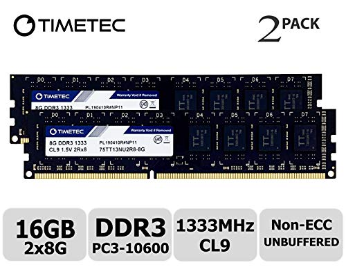 (Timetec Hynix IC 16GB Kit (2x8GB) DDR3 1333MHz PC3-10600 Unbuffered Non-ECC 1.5V CL9 2Rx8 Dual Rank 240 Pin UDIMM Desktop Memory Ram Module Upgrade (16GB Kit (2x8GB)))