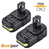 2 Pack 2500mAh Replace for Ryobi 18V Battery with LED Indicator One Plus P102 P103 P104 P105 P107 P108 P109 Cordless Power Tools