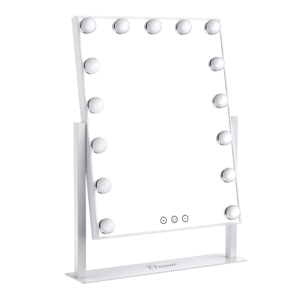 Ovonni Lighted Vanity Makeup Hollywood Style Mirror, Dimmable Tabletop Cosmetic Mirror with LED Bulbs, Touch Control and Plug Powered 15 Blubs, White