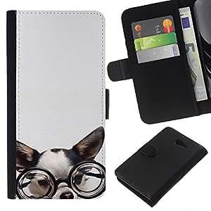 Planetar® Modelo colorido cuero carpeta tirón caso cubierta piel Holster Funda protección Sony Xperia M2 ( Chihuahua Glasses Dog Puppy Smart )