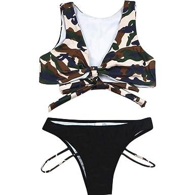 2a1ea80597397a Meilleure Vente!LuckyGirls Femmes Camouflage Imprimé Tankini Set ...